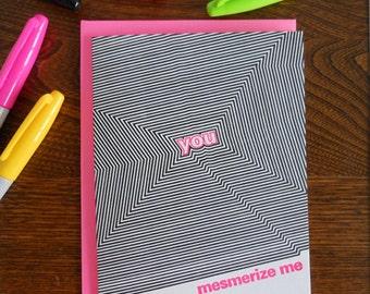 letterpress you mesmerize me greeting card optical illusion line art card mesmerizing amazing love valentine anniversary