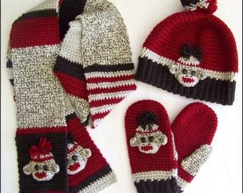 Sock Monkey Hat/Beanie, Mittens, Scarf - Crochet Pattern