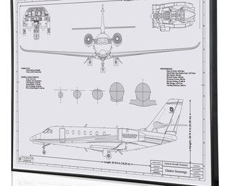 Plane blueprint etsy cessna citation sovereign personalized engraved blueprint artwork custom artwork for aviation and cessna enthusiasts malvernweather Image collections