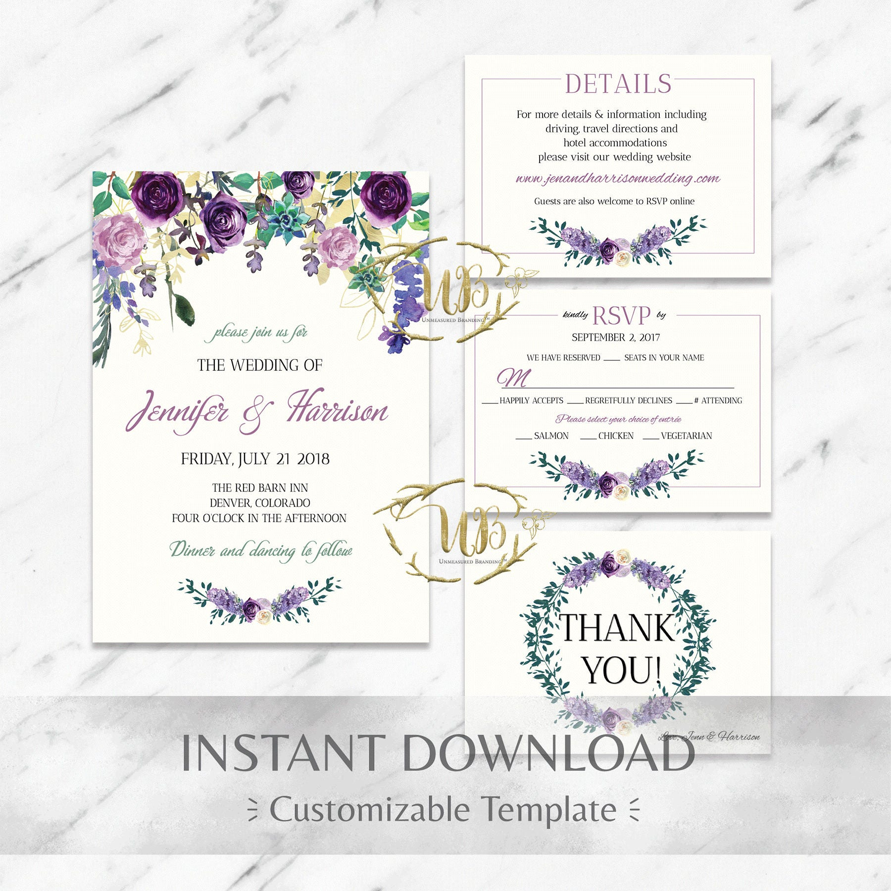 FloralPurpleMintPrintable Wedding Invitation SuiteTemplate