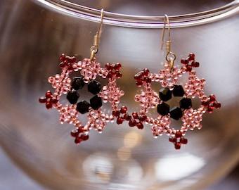 Pink & Black Frozen Flower Beaded Earrings