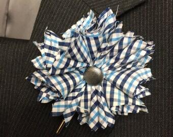 Blue Plaid Flower Lapel Pin