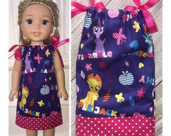 """14.5"""" Doll Clothes/WellieWishers/14.5"""" Doll Dress/Doll Pillowcase Dress/My Little Pony"""