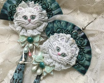Ooak shabby chic handmade  statement cat s earrings