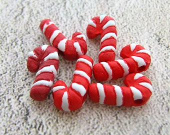 20 Ceramic Beads -  Tiny Candy Cane Beads - CB97