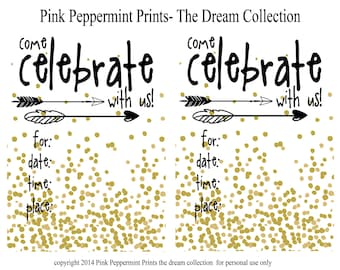 As Seen on SHUTTERFLY--INSTANT DOWNLOAD The Dreamer Printable Party Collection Printable 5x7 Invitations