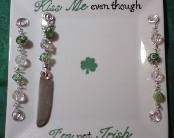 St Patrick's Day, Irish, Shamrock, Not Irish but want to celebrate, Humorous Irish platter, Appetizer platter, Hostess gift, Candy dish