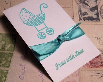 Baby Shower -  Favors - Wildflower Seeds - Grow with Love - Carriage