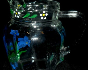 Vintage German Glass Hand Painted Pitcher~Water or Juice Pitcher~Handpainted Flowers~Retro Kitchen~German Glass Art~Collectors Glass~