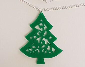 Christmas Tree Necklace - Acrylic