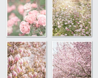 Floral Photography Set - Romantic Photo Collection, Roses, Magnolias, Blossoms, Wall Decor. Large Wall Art