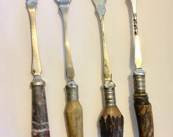 Assorted Vintage stag horn pickle forks