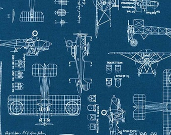 Airplane blueprint set packard le pere lusac ii aviation fabric vintage blueprints airplane blueprint fabric blueprints robert kaufman 15675 62 indigo malvernweather