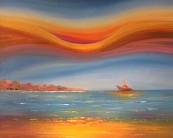Sea view oil painting,sea art,original oil painting ,art wall painting,decoration art
