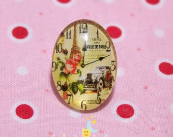Oval glass cabochon pattern dials eiffel tower pink ecru 18 / 25mm