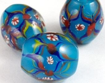 12mm x 15mm Teal Lampwork Bead with Flowers #2596