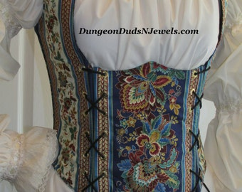 DDNJ Choose Fabric Renaissance Underbust Corset Style Bodice Reversible Plus Custom Made ANY Size Renaissance Pirate Wench Costume Medieval