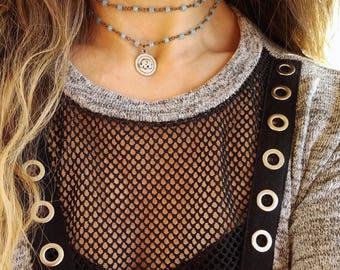 Layered elephant beaded chain choker necklace