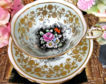 Paragon tea cup and saucer blue & gold gilt floral pattern chintz center teacup wide mouth