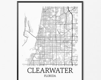 Clearwater Map Art Print, Clearwater Poster Map of Clearwater Decor, Clearwater City Map Art, Clearwater Gift, Clearwater Florida Art Poster