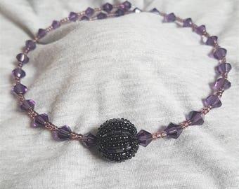 Purple and Black Wrap Necklace, Purple Necklace, Black Beaded Wrap, Purple Wrap Necklace, Memory Wire Necklace, Choker Necklace