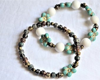 TURQUOISE CZECH GLASS Floral Bracelet White Jade Matching Metal Bead Bracelet Set