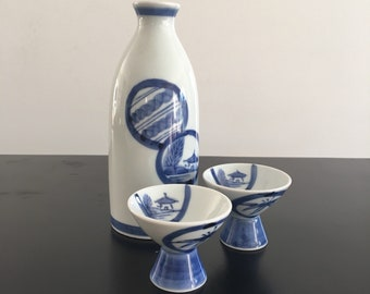 Vintage,Sake Set,Japanese Sake Set,Blue And White,Porcelain Sake Set,Japanese Bottle,Sake Cups,Japanese Decor,Oriental Decor,Sake,Japan