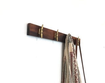 "24"" Walnut Coat Rack. Scarf Rack. Boat Cleat. Nautical. For the Home. 4 hooks."