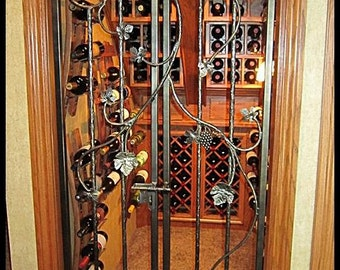 "Iron Wine Cellar Double Door - ""The Chardonnay"" - Vineyard Grapevine Winery Themed - 30 or 36 inches wide. 80 inches tall."