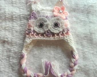 crochet owl hat, multi colored owl hat, baby girl owl hat,