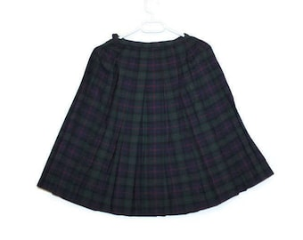 50s Pleated Plaid Skirt School Girl Wool Black Blue Green Tartan 1950s Accordion Skirt Rockabilly 24 Inch Waist Checkered Scottish Skirt