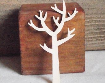 """Neat Deciduous Leafless Forest Tree Wood Laser Cutout for Crafting, Painting, Staining 4 1/4"""" x 2 1/2"""""""
