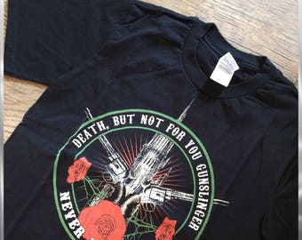 Stephen King the dark tower inspired screen printed t-shirt, hand screen printed horror movie inspired shirt, nameless city
