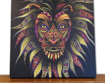 Animal Canvas Art - Lion Wall Art - Home Decor - Caesar - Tribal Art - Drawing - Colored Pencils