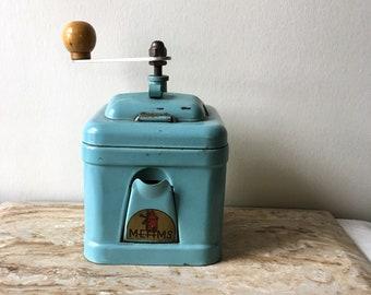 Moulin à vent Turquoise Aqua manuel Vintage Meams moulin à café France Français des années 1950