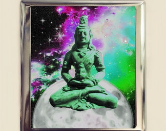 Buddha Moon Cigarette Case Business Card ID Holder Wallet Psychedelic Surreal Buddhist Art Buddhism Trippy