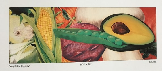 Vegetable art/ kitchen decor/ Prints/ Wall art