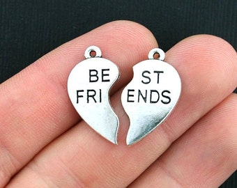 6 Best Friend Charms Antique Silver Tone 2 Part Charm - SC3134