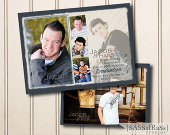 The Jacob--5x7 ADOBE PHOTOSHOP Graduation Announcement Template for Photographers, DIY, Grad Party, Open House, Double-Sided