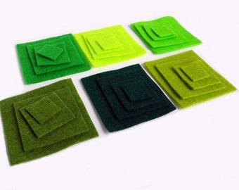 Cuadrados, Cuadrados fieltro, troquelados, figuras fieltro, fieltro verde, fieltro, fieltro para manualidades y costura, fieltro troquelado