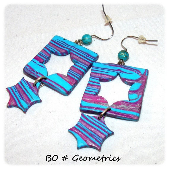Kind of Designer [Geometrics] - purple - blue earrings