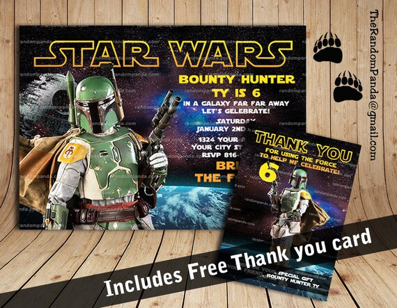 Star Wars Birthday Greeting Free ~ Printable star wars invitation boba fett party star wars