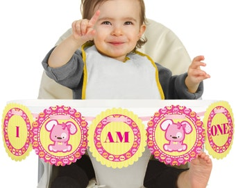 Pink Girl Puppy - 1st Birthday - I Am One - First Birthday High Chair Banner - First Birthday Party Decorations