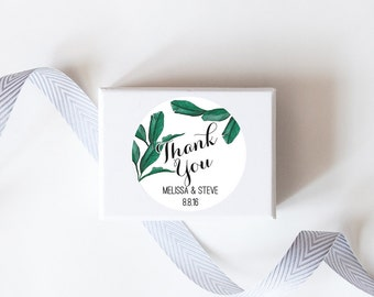 Tropical Palm Leaf Wedding Favor Stickers  - Custom Labels // Watercolor