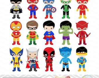 30 Superhero Boys Digital Clipart, Superhero Clip Art, Boy Superhero Clip Art, Little Boy Super Hero Clipart, Super Hero Clip Art, 0265