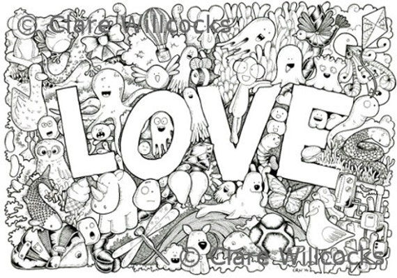 Items Similar To Adult Colouring Book Page Love