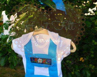 Original Style Lederhosen onesie with matching alpine hat