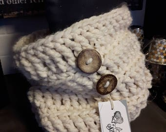 Crochet chunky cowl with genuine coconut buttons!
