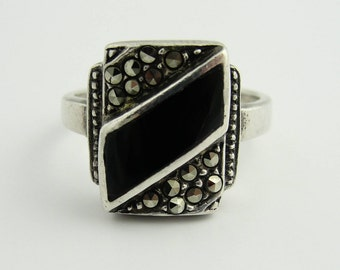 Vintage Onyx Bar Ring- Sterling Silver