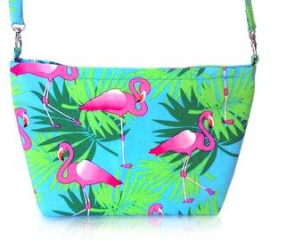 Tropical Flamingo print handbag
